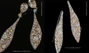 On the left, BRITTANY Couture, on the right, the Collection counterpart - here we've changed the Collection version to a earwire due to Swarovski availability of the large top pear shaped stone