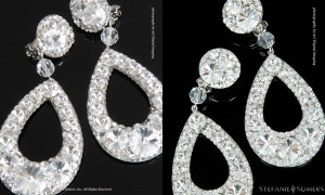 On the left, our CALIFORNIA Couture. On the right, Collection CALIFORNIA, both is clear Crystal - virtually identical by photo